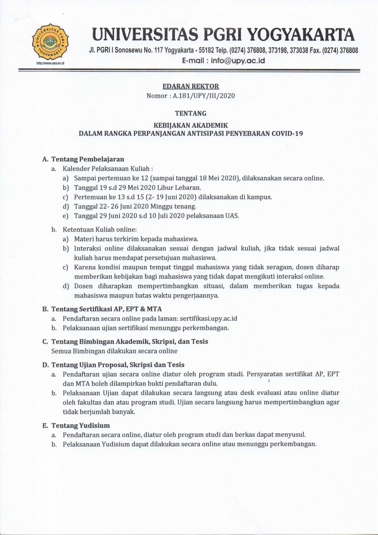 PENGUMUMAN KEBIJAKAN AKADEMIK DALAM RANGKA PERPANJANG ANTISIPASI PENYEBARAN COVID -19 DI UNIVERSITAS PGRI YOGYAKARTA