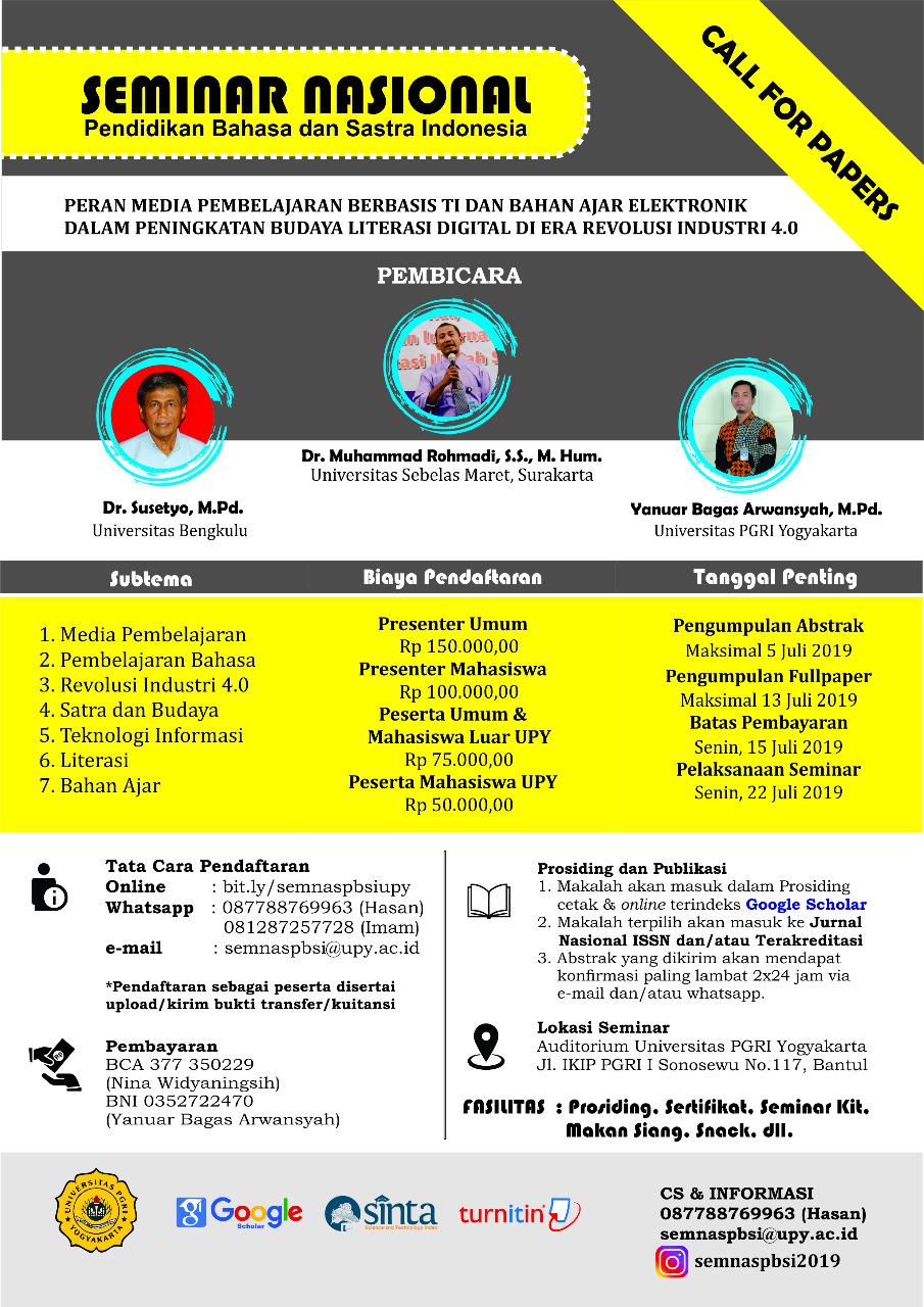 Seminar Nasional Program Studi Pendidikan Bahasa Indonesia, Universitas PGRI Yogyakarta.