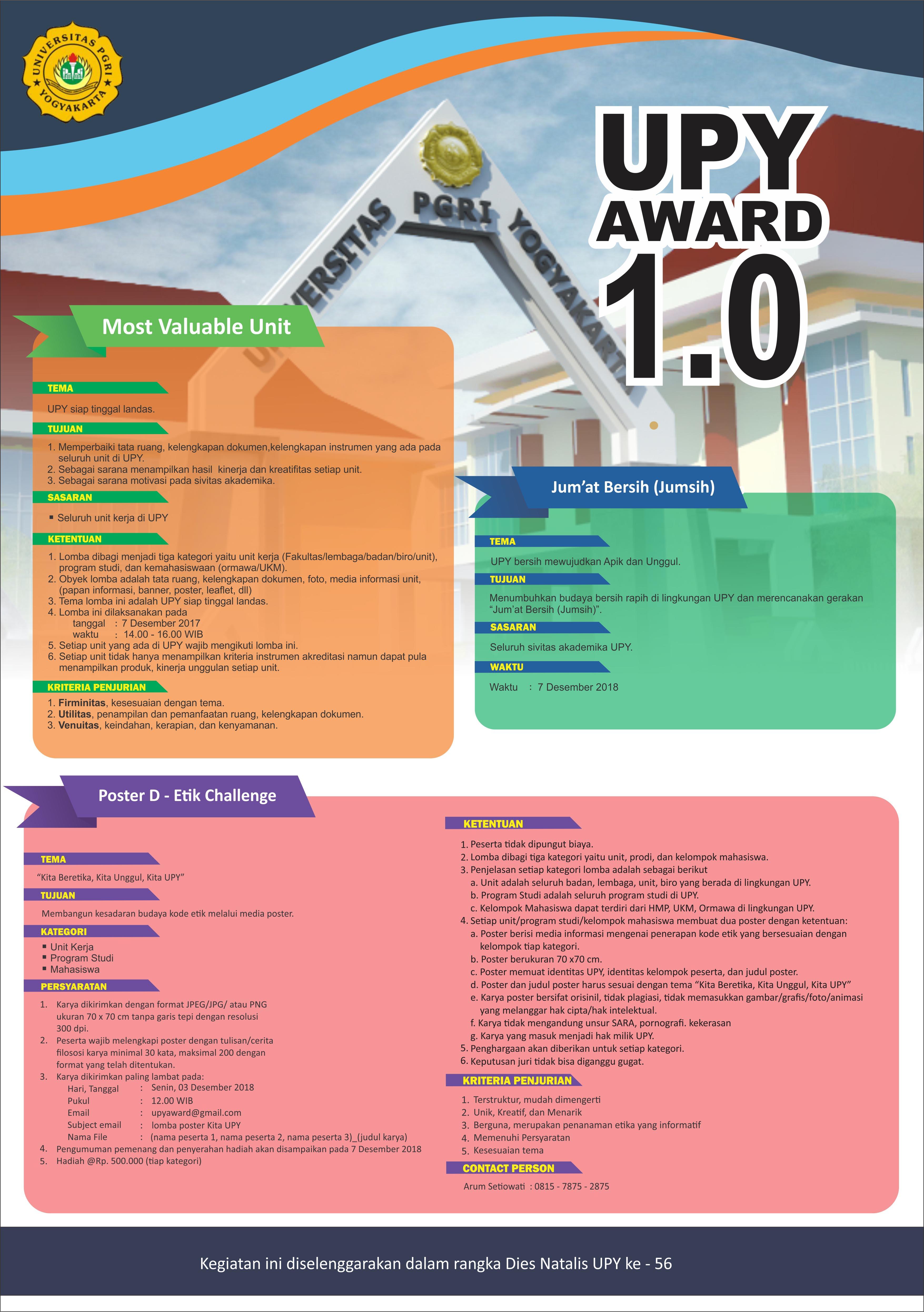 UPY Award 1.0 Memperingati Dies Natalis UPY Ke - 56