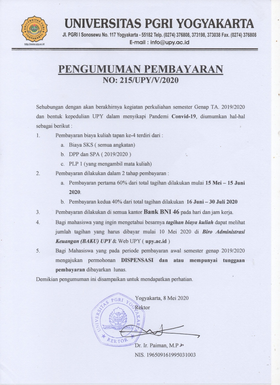 PENGUMUMAN PEMBAYARAN BIAYA KULIAH SEMESTER GENAP TA. 2019/2020